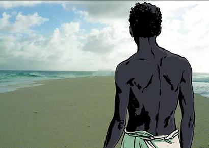 Affiche de l'exposition «Tromelin, l'île des esclaves oubliés» au Musée de l'Homme à Paris, jusquau 3 juin 2019. © S.Savoia, Collection Aire Libre, Dupuis & JF Rebeyrotte